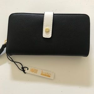 NWT Kate Landry black and white wallet